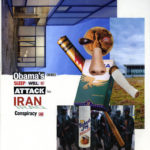 """Obama's enemies sleep well, but attack his Iran/Iraq conspiracy game""  Collage 17 x 14 inches 2012"